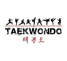 Taekwondo Text and Fighters Photographic Print