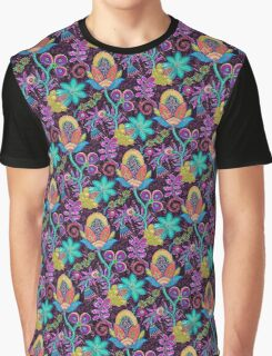 Colorful Abstract Retro Flowers Beads Look Design Graphic T-Shirt