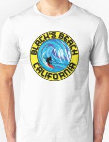 Surfer BLACK'S BEACH California Surfing Surfboard Waves Ocean Beach Vacation Unisex T-Shirt