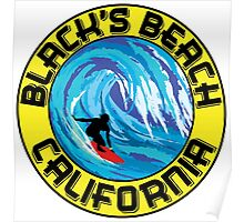 Surfer BLACK'S BEACH California Surfing Surfboard Waves Ocean Beach Vacation Poster