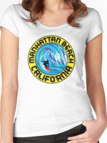 Surfer MANHATTAN BEACH California Surfing Surfboard Waves Ocean Beach Vacation Women's Fitted Scoop T-Shirt