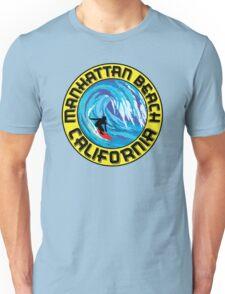 Surfer MANHATTAN BEACH California Surfing Surfboard Waves Ocean Beach Vacation Unisex T-Shirt