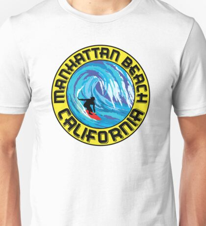 Surfer MANHATTAN BEACH California Surfing Surfboard Waves Ocean Beach Vacation Unisex T-Shirt