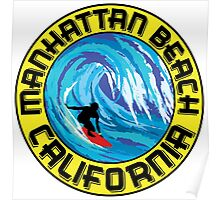Surfer MANHATTAN BEACH California Surfing Surfboard Waves Ocean Beach Vacation Poster