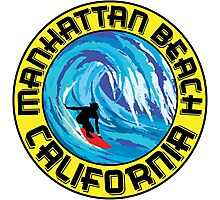 Surfer MANHATTAN BEACH California Surfing Surfboard Waves Ocean Beach Vacation Photographic Print
