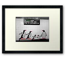 NYC Subway Penguins Framed Print
