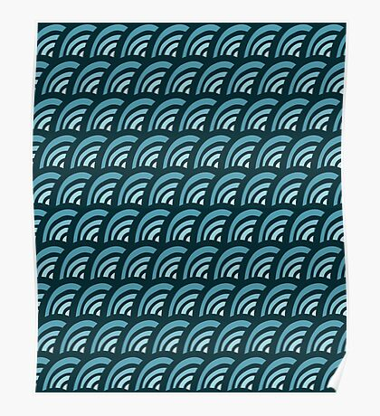 blue waves doodle seamless pattern Poster