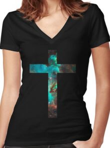 Green Galaxy Cross Women's Fitted V-Neck T-Shirt