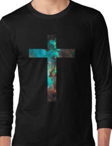 Green Galaxy Cross Long Sleeve T-Shirt