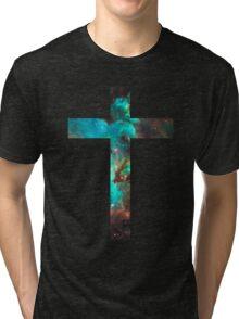 Green Galaxy Cross Tri-blend T-Shirt