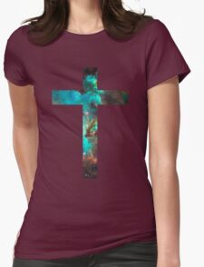 Green Galaxy Cross Womens Fitted T-Shirt