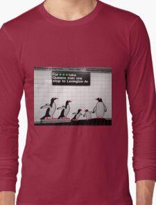 NYC Subway Penguins Long Sleeve T-Shirt