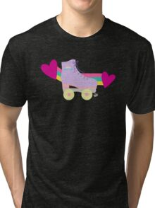 BLACK Cute Roller Skates Pattern Tri-blend T-Shirt