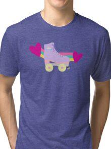 BLACK Cute Roller Skates Pattern Tri-blend T-Shirt