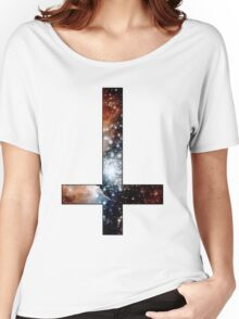 Red Galaxy Inverted Cross Women's Relaxed Fit T-Shirt