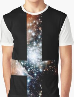 Red Galaxy Inverted Cross Graphic T-Shirt