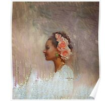 Classic Portrait of Woman With Flowers in Her Hair Poster