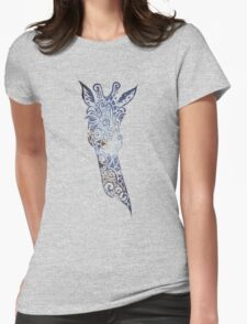Blue Space Giraffe Womens Fitted T-Shirt