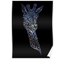 Blue Space Giraffe Poster