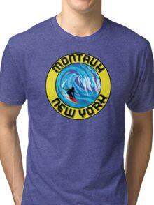 Surfing MONTAUK NEW YORK Surf Surfboard Waves LONG ISLAND Tri-blend T-Shirt