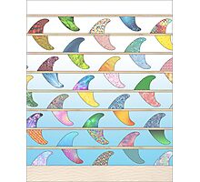 Summer Surfboard fins on a beach with a sea backgorund Photographic Print