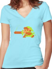 Link in action Women's Fitted V-Neck T-Shirt