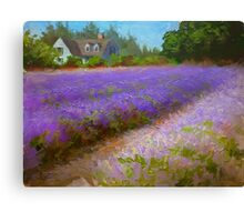 Lavender Field and Farm House Landscape Oil Painting Canvas Print
