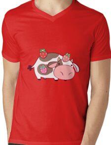Strawberry Cow Mens V-Neck T-Shirt