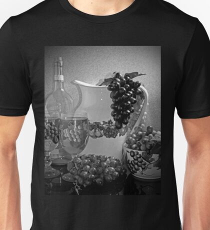 Pottery, Grapes and Wine (Black and White) Unisex T-Shirt