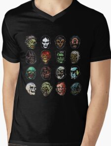 Horror Movie Monster Masks Mens V-Neck T-Shirt