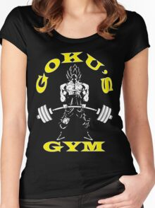 Goku's Gym (White and Yellow) Women's Fitted Scoop T-Shirt