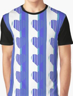 Blue Turquoise and White Heart Graphic T-Shirt