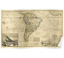 Vintage Map of South America (c. 1712) Poster