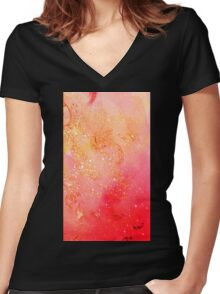 GARDEN OF THE LOST SHADOWS MAGIC GOLD SPARKLES Women's Fitted V-Neck T-Shirt