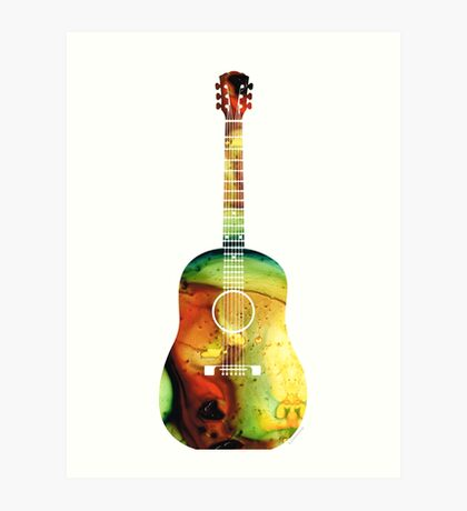 Acoustic Guitar - Colorful Abstract Musical Instrument by Sharon Cummings Art Print