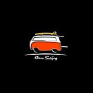 Red Van Gone Surfing White Outline by Frank Schuster