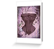 French Vintage lingerie fashion corset art Greeting Card