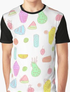 Pattern design with fruits and cakes Graphic T-Shirt