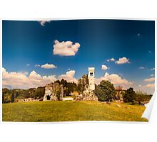 ancient and ruined castle in the italian countryside Poster