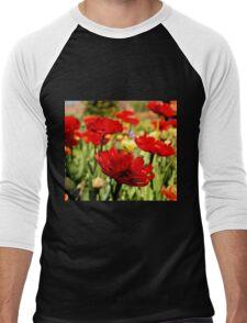 Red Flower Patch Men's Baseball ¾ T-Shirt