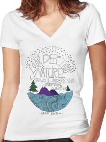 Einstein: Nature Women's Fitted V-Neck T-Shirt