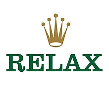 Relax Text with Golden Crown Photographic Print