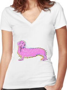Always Keep Your Doxie Around You Women's Fitted V-Neck T-Shirt