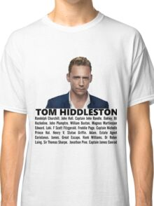 Tom Hiddleston Filmography Classic T-Shirt