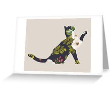 Floral Playing Cat Greeting Card