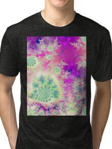 Rapsberry Heart Star, the Abstract Fractal Heart Beat of Love Tri-blend T-Shirt