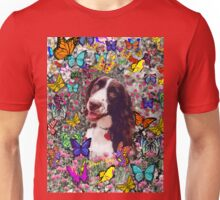 Lady in Butterflies - Brittany Spaniel Unisex T-Shirt