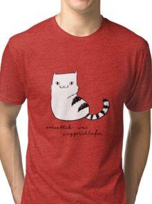 Ordentlich was weggeschlafen (black and white print) Tri-blend T-Shirt