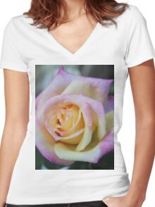 Cottage Tea Rose Women's Fitted V-Neck T-Shirt