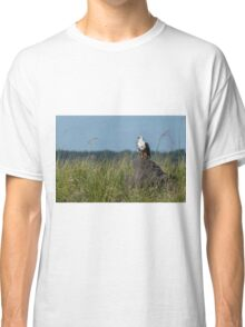 African fish eagle perched on termite mound Classic T-Shirt